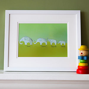 Personalised Family Elephant Picture - paintings & canvases for children