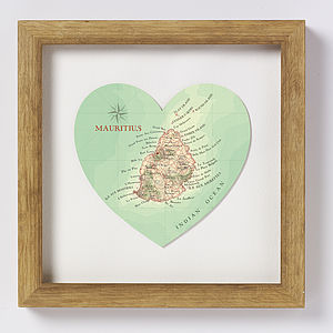 Mauritius Map Heart Wedding Anniversary Print