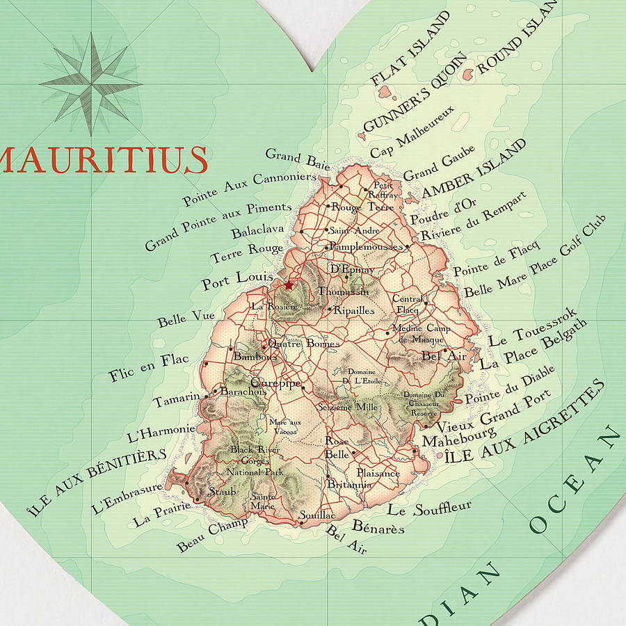 mauritius map heart wedding anniversary print by bombus off the peg