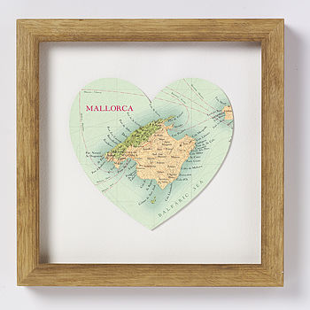 Majorca map heart print natural wood frame