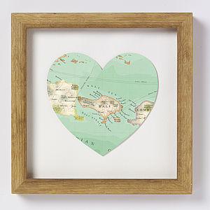 Bali Map Heart Print Honeymoon Gift
