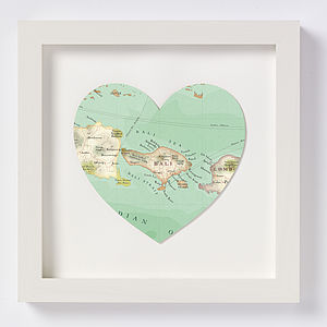 Bali Map Heart Print Honeymoon Gift - posters & prints