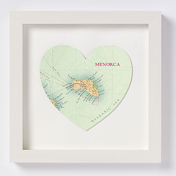 Menorca Map Heart Print