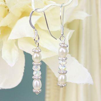 Handmade Crystal And Pearl Earrings