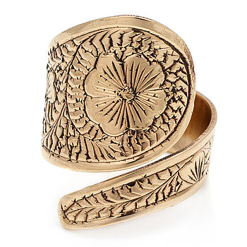 Handmade Flower Brass Ring