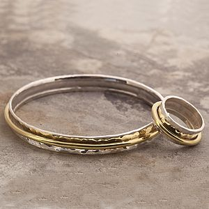 Silver And Gold Spinning Bangle Set