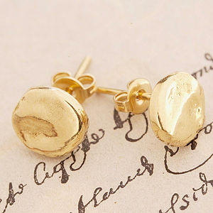 Gold Organic Round Stud Earrings - earrings
