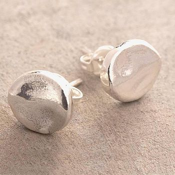 Round Stud Silver Earrings