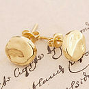 Gold Organic Round Stud Earrings