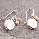 Silver And June Pearl Birthstone Organic Round Earrings