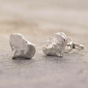Sterling Silver Textured Heart Stud Earrings