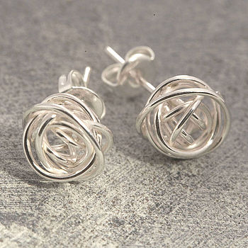 Nest Wire Wrapped Sterling Silver Stud Earrings