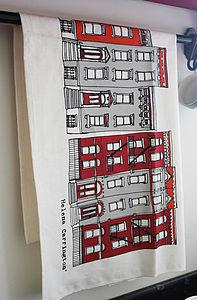 New York Brooklyn Houses Screen Printed Tea Towel