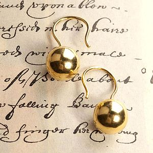 18K Gold Ball Hook Earrings - earrings