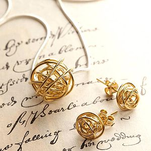 Gold Nest Pendant On Snake Chain - earrings