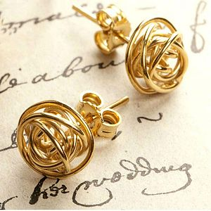 Gold Nest Stud Earrings - women's jewellery
