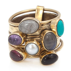 Chunky Gemstone Stacking Ring - jewellery