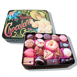 Vintage Style Gift Tin Filled With Chocolates - chocolates