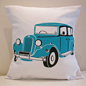 Classic Austin Car Cushion Cover In Teal - cushions