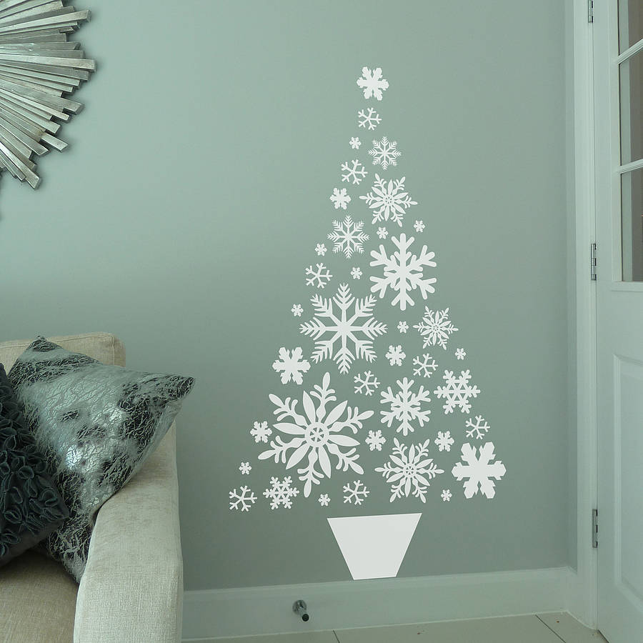 Superb Snowflake Christmas Tree Wall Sticker