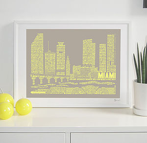Miami Skyline Typography Print