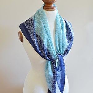 Turquoise Mosaic Silk Scarf - scarves