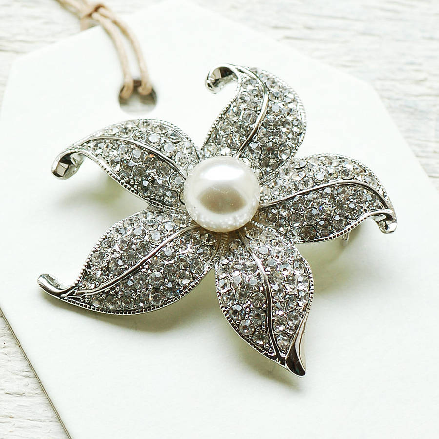 vintage style pearl flower brooch by highland angel ...