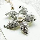 Vintage Style Pearl Flower Brooch