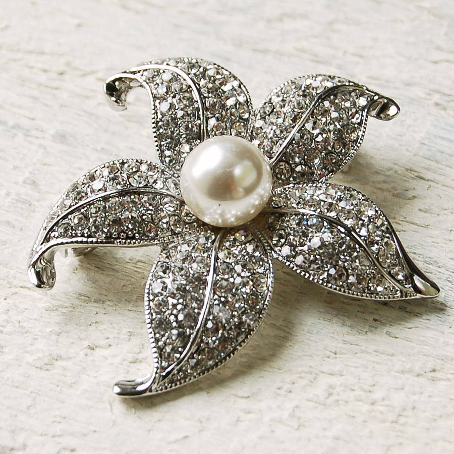 Vintage Style Pearl Flower Brooch By Highland Angel