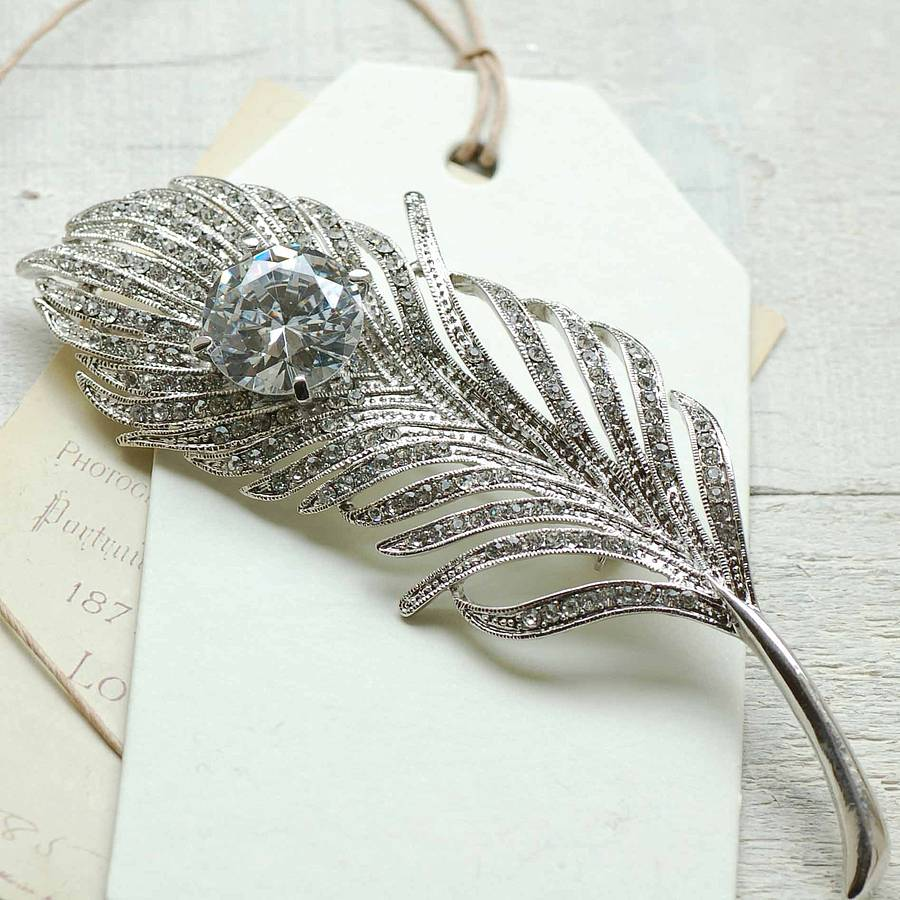 vintage style feather brooch by highland angel ...