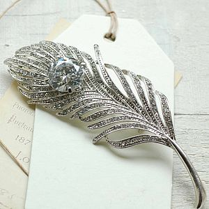 Vintage Style Feather Brooch