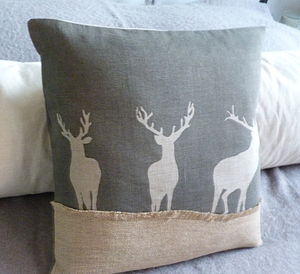 Charcoal Linen Triple Stags - cushions