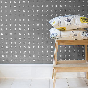 'Sugar And Slugs' Word Search Wallpaper Grey - bedroom