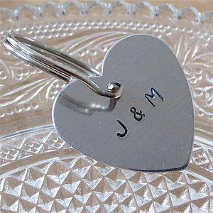 Couples Personalised Heart Key Ring