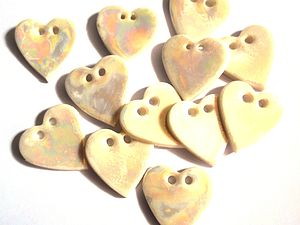 Five Porcelain Mother of Pearl Heart Buttons - wedding favours