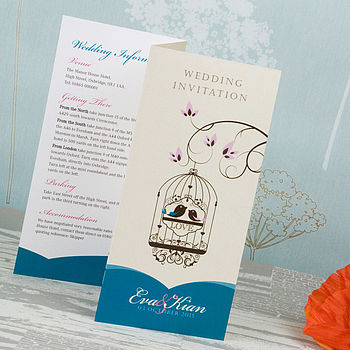 Elegant Bird Cage 3-fold Wedding Invitation in Teal