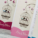 Elegant Bird Cage 3-fold Wedding Invitation in Dusty Pink
