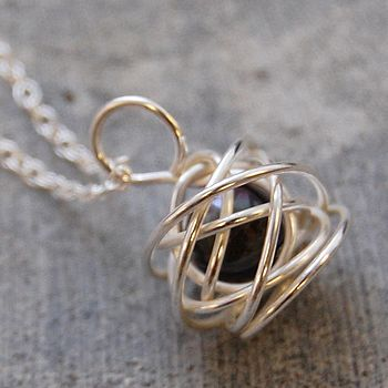 Silver Caged Pearl Necklace On Silver Chain