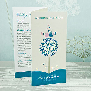 Tweet Love Twee Three Fold Wedding Invitation - wedding stationery