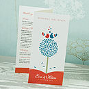 Tweet Love Twee 3-fold Wedding Invitation in Coral