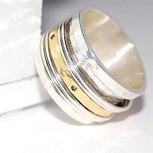 Silver And Gold Spinning Band Ring - men's jewellery