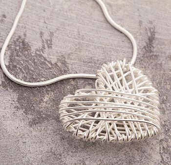 Silver Crocheted Heart Pendant On Snake Chain