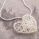 Silver Crocheted Heart Necklace On Snake Chain