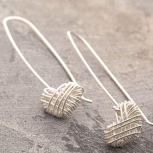 Silver Crocheted Heart Dangle Earrings - jewellery sale