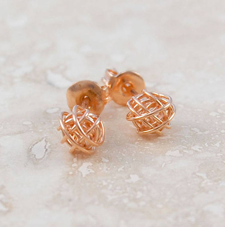Rose Gold Tiny Nest Stud Earrings
