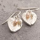 Heart Silver Earrings With Freshwater Pearls