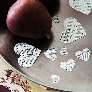Vintage Music Score Hearts Confetti - table decorations