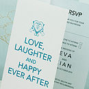 Happy Ever After 3-fold Wedding Invitation in Teal