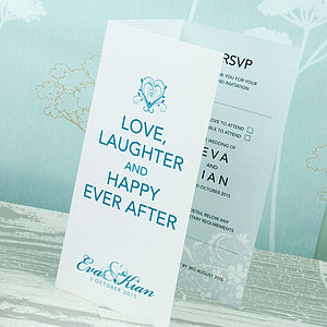 Happy Ever After Wedding Invitation - mint, blush & gold