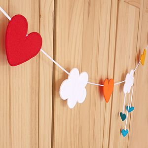 Felt Handmade Cloud And Rainbow Heart Bunting - decoration